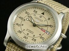 SEIKO 5 AUTOMATIC MENS WATCH MILITARY SNK803 SNK803K2 KHAKI NYLON BAND, NO BOX