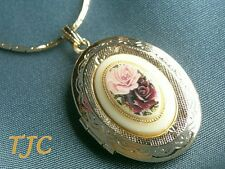 "18ct 18kt 18k GP GOLD ROSES OVAL LOCKET ON CHAIN 42CM NECKLACE 17"" not 9k 18442Y"