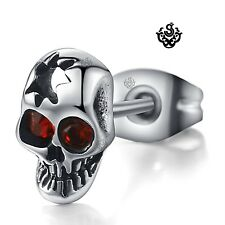 Silver stud red swarovski crystal stainless steel skull earring SINGLE