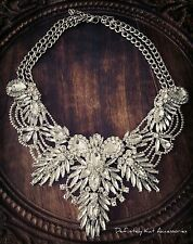 Stunning white crystal bling vintage cluster collar statement necklace.