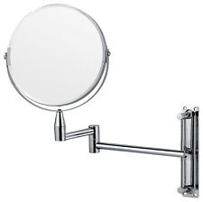 Wall mounted magnifying extending shaving vanity makeup mirror bathroom Chrome