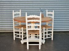 Vintage Solid Pine Round Dining Table and 3 chairs Shabby Chic Painted Ivory.