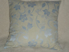 """16"""" BEIGE & PALE BLUE CUSHION COVER MADE WITH DUNELM FABRIC--SWIRLY FLORAL"""