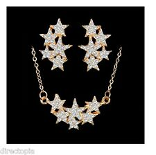 Austrian Crystal Star Necklace & Earring Set, 18K Gold Plated