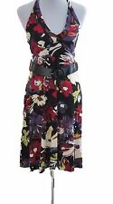 New Womens Black Purple Red Halter Neck NEXT Dress Size 12 RRP £40