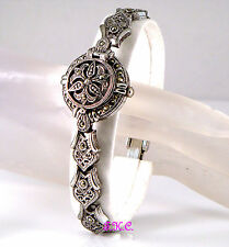 Winter Offer Renaissance Nouveau Baroque Antique Style Marcasite Filigree Watch