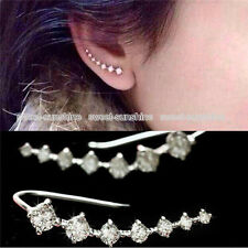New Girls One Row Rhinestone Crystal Star Ear Clip Cuff Piercing Silver Earrings