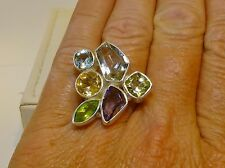GENUINE! 9.23cts! Green Amethyst & Multi-Gemstone Ring in Solid Sterling 925!!