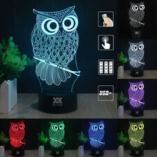 Owl 3D LED Night light USB Color Change Touch Table Desk Lamp Remote Controller