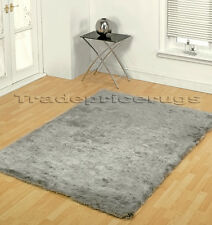 LARGE THICK SILVER GREY SOFT SHAGGY SPARKLE RUG 120x170