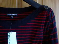 WAREHOUSE CASUAL JUMPER DRESS 100% COTTON NAVY BLUE WITH RED STRIPPED