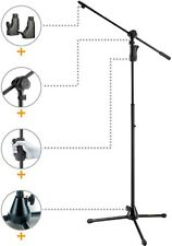 Hercules MS632B 2 in 1 Boom Microphone Stand  With Mic Clip