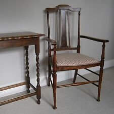 Antique Style Upholstered Solid Dark Wood Hall Occasional Chair