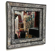 Crackle Glass Mosaic Wall Mirror Square Black Double Frame Handmade 68X68cm New