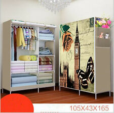 Non-woven Canvas Fabric Wardrobe with triple doors Storage Rail Cupboard Shelves