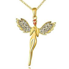 Ladies 14ct 9ct Yellow Gold GF Lab diamond Angle Feather Soild Pendant Necklace