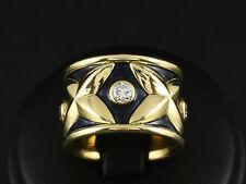 Breiter Brillant Email Ring ca. 0,65ct Goldschmiedearbeit 18,2g 750/- Gelbgold