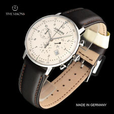 Junkers 40mm Bauhaus German Made Swiss Quartz Chronograph Leather Strap Watch