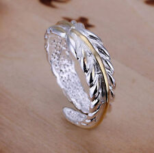 Ladies 925 Sterling Silver Feather Adjustable Wrap Band Ring Gold Leaf / Thumb
