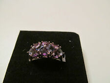 BEAUTIFUL AMETHYST AND IOLITE CLUSTER BAND RING SIZE P USA 8 9CT GOLD