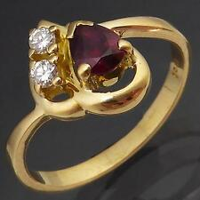 Tiny Size Asymmetric Natural RUBY DIAMOND 18ct Solid Yellow GOLD RING Sz J