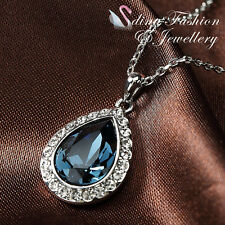 18Ct White Gold Plated Genuine Swarovski Crystals Water Droop Sapphire Necklace