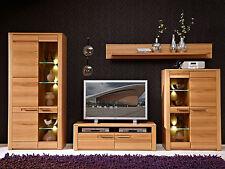 Wohnwand 1 Nature Plus Anbauwand Wohnzimmer Vitrine TV Board Kernbuche massiv