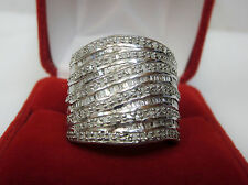 HUGE 1 CT Round Baguette Diamond Statement Wide Cigar Band Ring Silver Sz 6