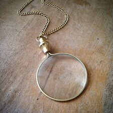 Gold Monocle Magnifying Glass Necklace REALLY WORKS Brass Pendant & Chain