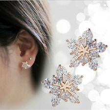 New brand fashion crystal 18K gold plated stud earring snowflake earrings