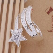 925 Sterling Silver CZ Star Fashion Casual Wrap Band Ring / Thumb Adjustable