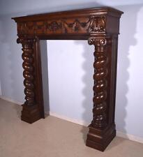 6' Massive Antique French Renaissance Oak Fireplace Surround/Mantel with Angel