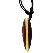 Wood Surfboard Pendant Chain Surf Necklace Mens Womens Wooden Surfer Jewellery