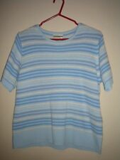 Miller's - Women's Pale Blue & White Knitted S/Sleeve Top. Size - Large.