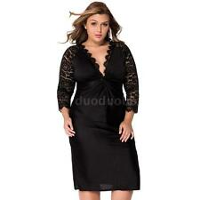 Plus Size Womens Long Sleeves Party Evening Dress  Lady Lace Mini Dress Oversize