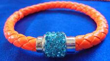 MAGNETIC CLASP Bracelet Bangle AQUA Diamantes Rhinestone FLUORO ORANGE LEATHER