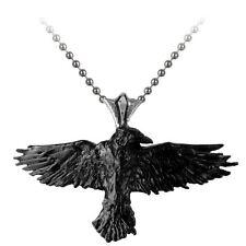 Offiziell Alchemy Gothic Schwarz Rabe Anhänger - Halskette Silber Krähe England
