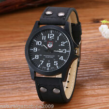 Retro Men Automatic Quartz Mechanical Black PU Leather Casual Wrist Watch