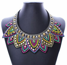 Fashion Pendant Chain Jewelry Women Bib Crystal Beaded Collar Necklace Choker