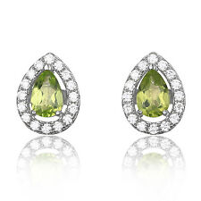 JewelryPalace Pear 0.9ct Natural Peridot 925 Sterling Silver Stud Earrings
