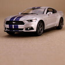 2015 Silver Ford Mustang GT Sports Car Collectible Model Striped 1:38 Die-Cast