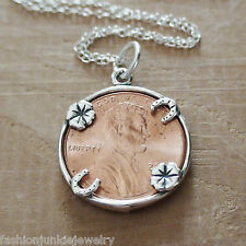 Lucky Penny Necklace - 925 Sterling Silver - Coin Good Luck Charm Wish Money