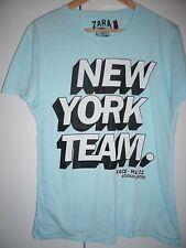 ZARA T-Shirt in hellblau mit tollem Brustprint Größe M