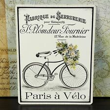 PARIS BICYCLE FRENCH FLOWERS VINTAGE METAL WALL SIGN PLAQUE SHABBY CHIC RETRO