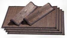 Platzmatte Set Tisch Matten Platzdeckchen Unterlagen Bambus Dunkelbraun 6 Teilig