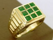 MR18 Superb Mens Genuine 9K Solid Yellow GOLD NATURAL Emerald Diamond Ring sizeZ