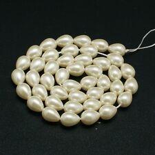 20 pcs Glass Pearl Teardrop Beads  Wheat  9mm x7mm Jewellery Making