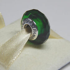 Authentic Pandora 791619 Fascinating Green Silver Murano Charm Bead Box Included