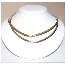 """Sterling Silver & 14k Gold Reversible Omega Necklace.4MM 16"""" New 50"""