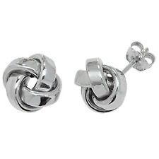 Unique Wishlist 9ct White Gold Plain Knot Studs *ER530W